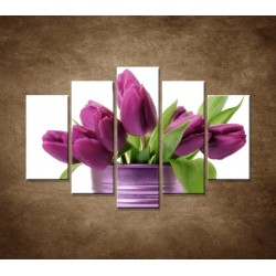 Obrazy na stenu - Svieže tulipány - 5dielny 150x100cm
