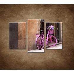 Obrazy na stenu - Ružový bicykel - 3dielny 75x50cm