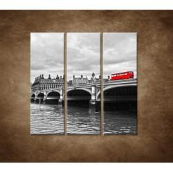 Obrazy na stenu - Červený autobus - 3dielny 90x90cm