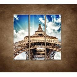 Obrazy na stenu - Eifelova veža zdola - 3dielny 90x90cm
