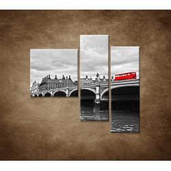 Obrazy na stenu - Červený autobus - 3dielny 110x90cm