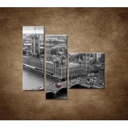 Obrazy na stenu - Čiernobiely Londýn - 3dielny 110x90cm