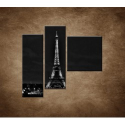 Obrazy na stenu - Čiernobiela Eifelovka - 3dielny 110x90cm