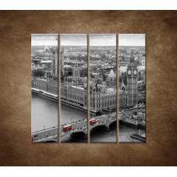 Obrazy na stenu - Čiernobiely Londýn - 4dielny 120x120cm