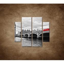 Obrazy na stenu - Červený autobus - 4dielny 100x90cm