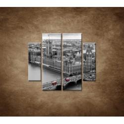 Obrazy na stenu - Čiernobiely Londýn - 4dielny 100x90cm