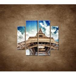 Obrazy na stenu - Eifelova veža zdola - 4dielny 100x90cm