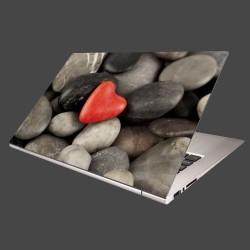 Nálepka na notebook - Červené srdce na kameňoch