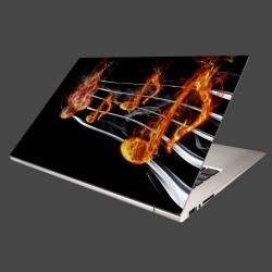 Nálepka na notebook - Noty v plameňoch