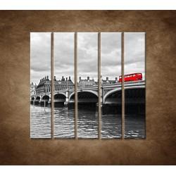 Obrazy na stenu - Červený autobus - 5dielny 100x100cm