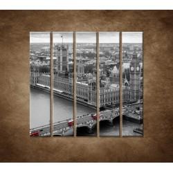 Obrazy na stenu - Čiernobiely Londýn - 5dielny 100x100cm