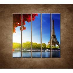 Obrazy na stenu - Eifelova veža - 5dielny 100x100cm