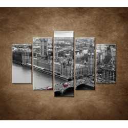 Obrazy na stenu - Čiernobiely Londýn - 5dielny 150x100cm