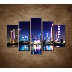 Obrazy na stenu - Singapur - nočná panoráma - 5dielny 150x100cm