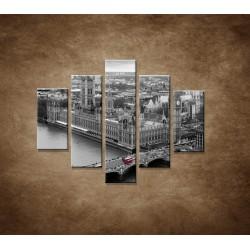 Obrazy na stenu - Čiernobiely Londýn - 5dielny 100x80cm