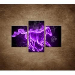Obrazy na stenu - Fialový horiaci kôň - 3dielny 90x60cm