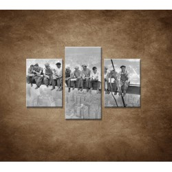 Obrazy na stenu - Robotníci na traverze - 3dielny 90x60cm