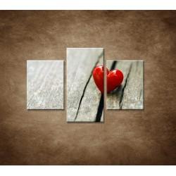 Obrazy na stenu - Červené srdiečko - 3dielny 90x60cm
