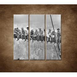 Obrazy na stenu - Robotníci na traverze - 3dielny 90x90cm
