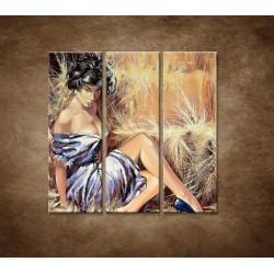 Obrazy na stenu - Maľovaná žena - 3dielny 90x90cm