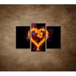 Obrazy na stenu - Ohnivé srdce - 3dielny 75x50cm