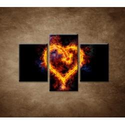 Obrazy na stenu - Ohnivé srdce - 3dielny 90x60cm