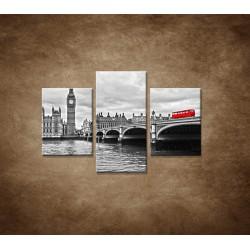 Obrazy na stenu - Červený autobus  - 3dielny 90x60cm