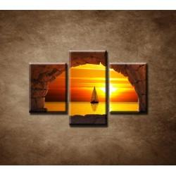 Obrazy na stenu - Plachetnica na mori - 3dielny 90x60cm
