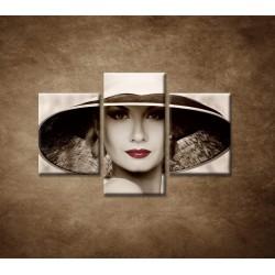 Obrazy na stenu - Žena v klobúku - 3dielny 90x60cm