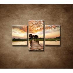 Obrazy na stenu - Západ slnka nad riekou  - 3dielny 90x60cm