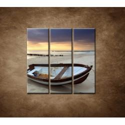 Obrazy na stenu - Loďka na pláži - 3dielny 90x90cm