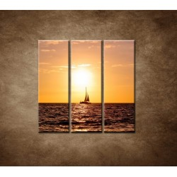 Obrazy na stenu - Západ slnka s jachtou - 3dielny 90x90cm