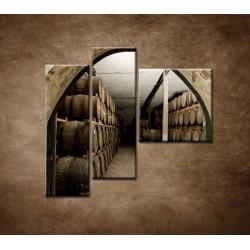 Obrazy na stenu - Sudy v pivnici - 3dielny 110x90cm