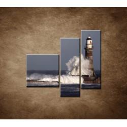 Obrazy na stenu - Maják s vlnami - 3dielny 110x90cm