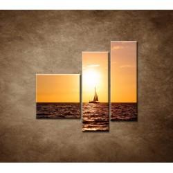 Obrazy na stenu - Západ slnka s jachtou - 3dielny 110x90cm