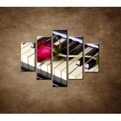 Obrazy na stenu - Ruža na klavíri - 5dielny 100x80cm