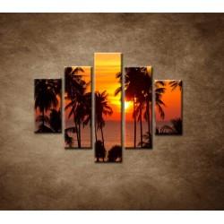 Obrazy na stenu - Západ slnka s palmami - 5dielny 100x80cm