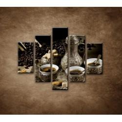 Obrazy na stenu - Kanvica kávy - 5dielny 100x80cm