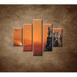 Obrazy na stenu - Zámok na skale - 5dielny 100x80cm
