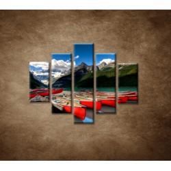 Obrazy na stenu - Kánoe na jazere - 5dielny 100x80cm