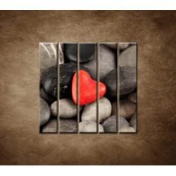 Obrazy na stenu - Červené srdce na kameňoch - 5dielny 100x100cm