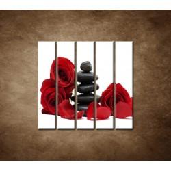 Obrazy na stenu - Čierne kamene a červené ruže  - 5dielny 100x100cm