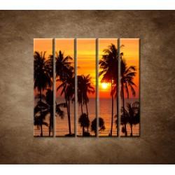 Obrazy na stenu - Západ slnka s palmami - 5dielny 100x100cm