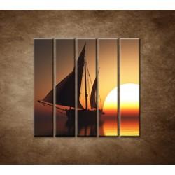 Obrazy na stenu - Západ slnka na mori - 5dielny 100x100cm