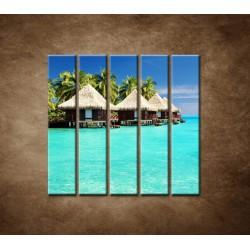 Obrazy na stenu - Chatky na mori - 5dielny 100x100cm