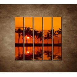 Obrazy na stenu - Červené zore nad morom - 5dielny 100x100cm