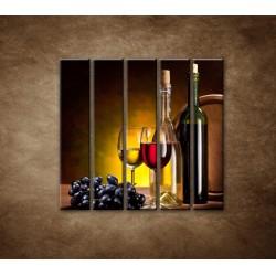 Obrazy na stenu - Víno so sudom - 5dielny 100x100cm