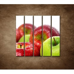 Obrazy na stenu - Červené a zelené jablká - 5dielny 100x100cm