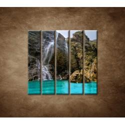 Obrazy na stenu - Prírodný vodopád - 5dielny 100x100cm