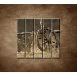 Obrazy na stenu - Staré koleso - 5dielny 100x100cm